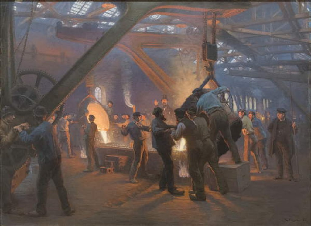 Detail of Burmeister and Wain Iron Foundry, 1885 by Peder Severin Kroyer