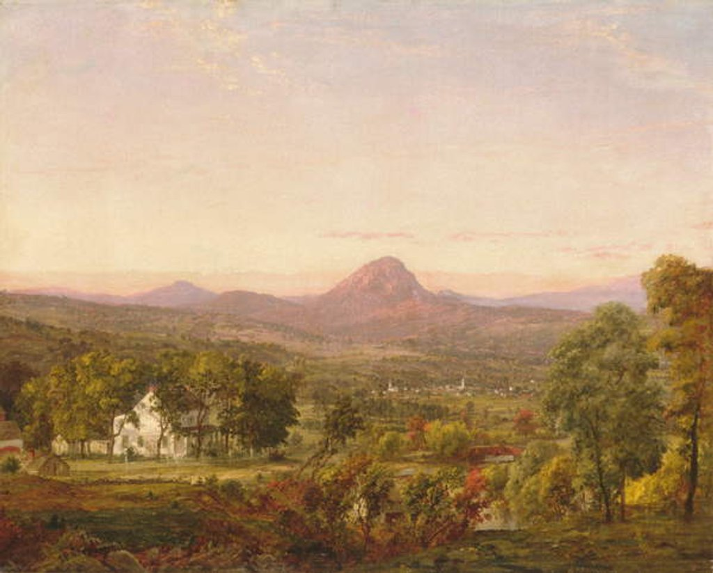 Detail of Autumn Landscape, Sugar Loaf Mountain, Orange County, New York, c.1870-75 by Jasper Francis Cropsey
