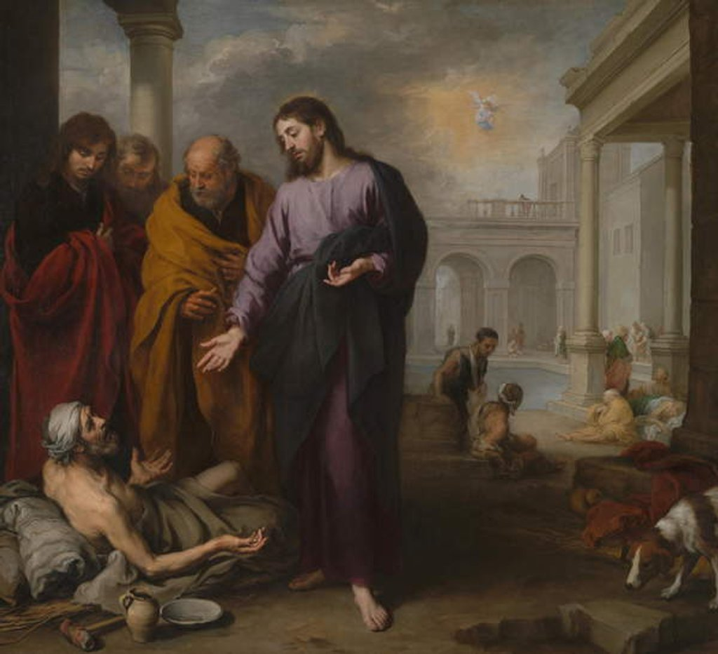 Detail of Christ healing the Paralytic at the Pool of Bethesda, 1667-70 by Bartolome Esteban Murillo
