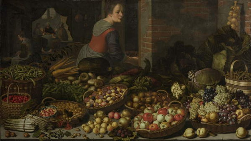 Detail of Still Life with Fruit and Vegetables, with Christ at Emmaus in the background, c. 1630 by Floris van Schooten