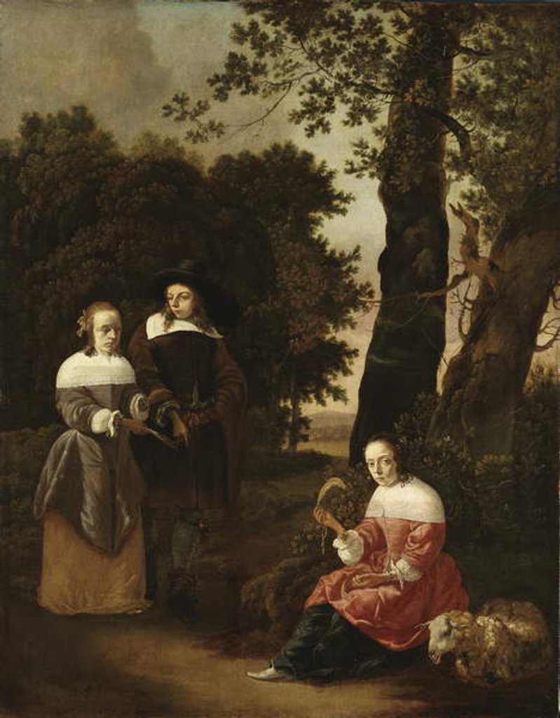 Detail of A Couple and a Shepherdess in a Landscape, 1661 by Hendrik van der Burgh