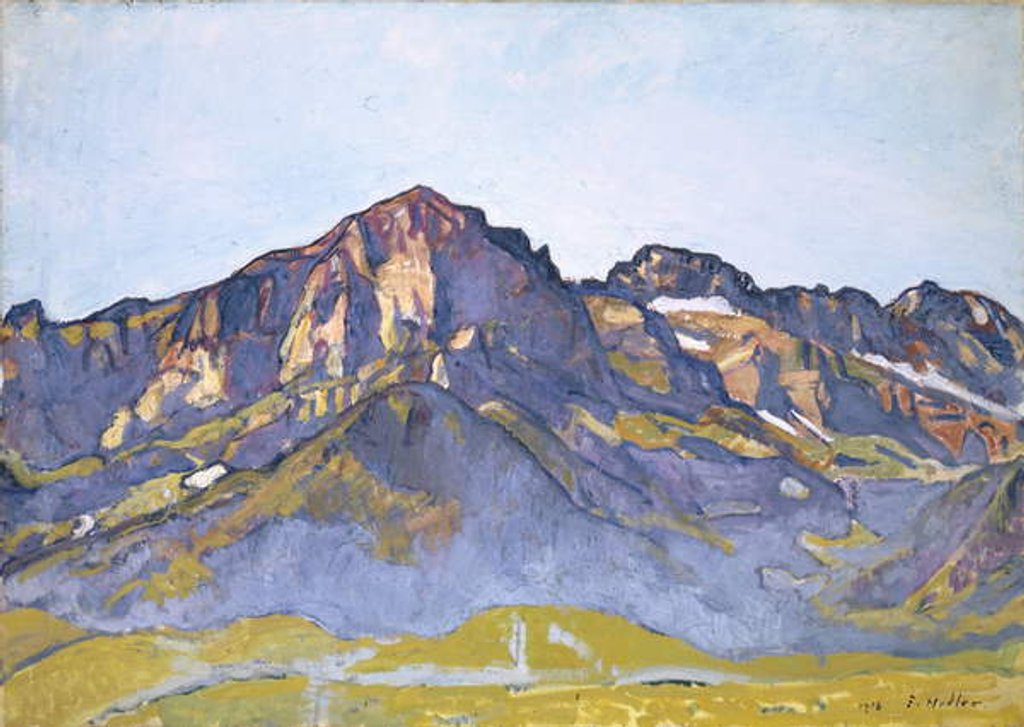 Detail of The Dents Blanches at Champéry in the Morning Sun, 1916 by Ferdinand Hodler
