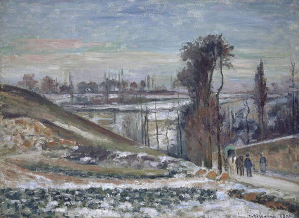 Detail of Snowy Landscape near l'Hermitage, 1875 by Camille Pissarro