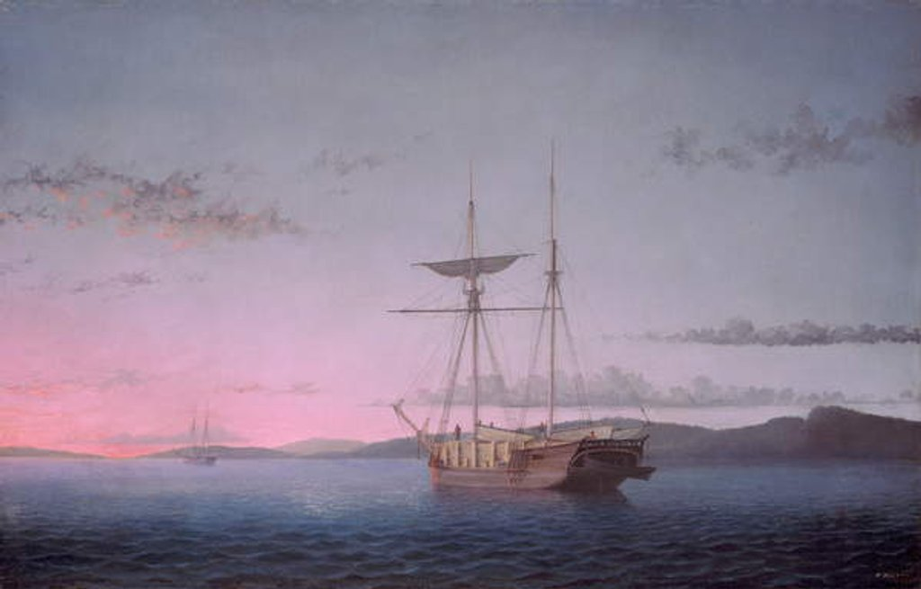 Detail of Lumber Schooners at Evening on Penobscot Bay, 1863 by Fitz Henry Lane