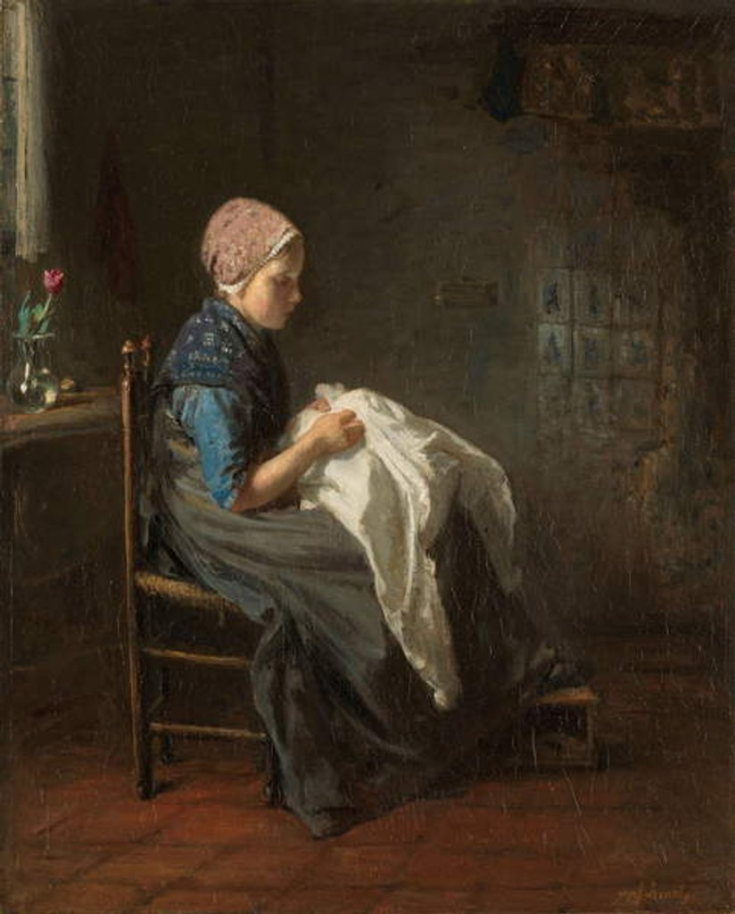 Detail of The Little Seamstress, 1850-88 by Jozef Israels