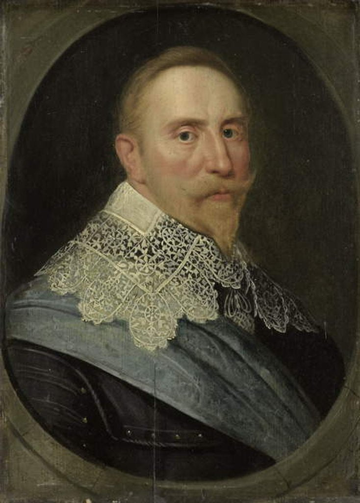 Detail of Portrait of Gustav II Adolf, King of Sweden, c. 1633 by Michiel Jansz. van (after) Miereveld