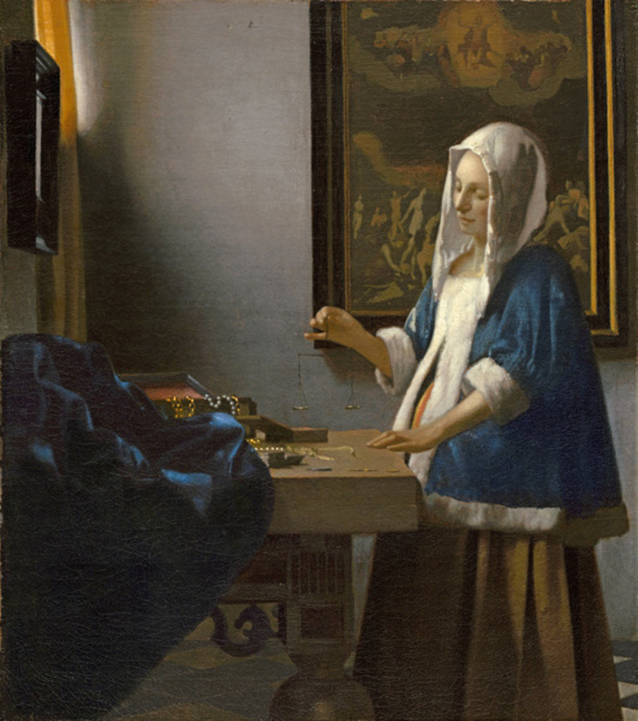 Detail of Woman Holding a Balance by Jan Vermeer