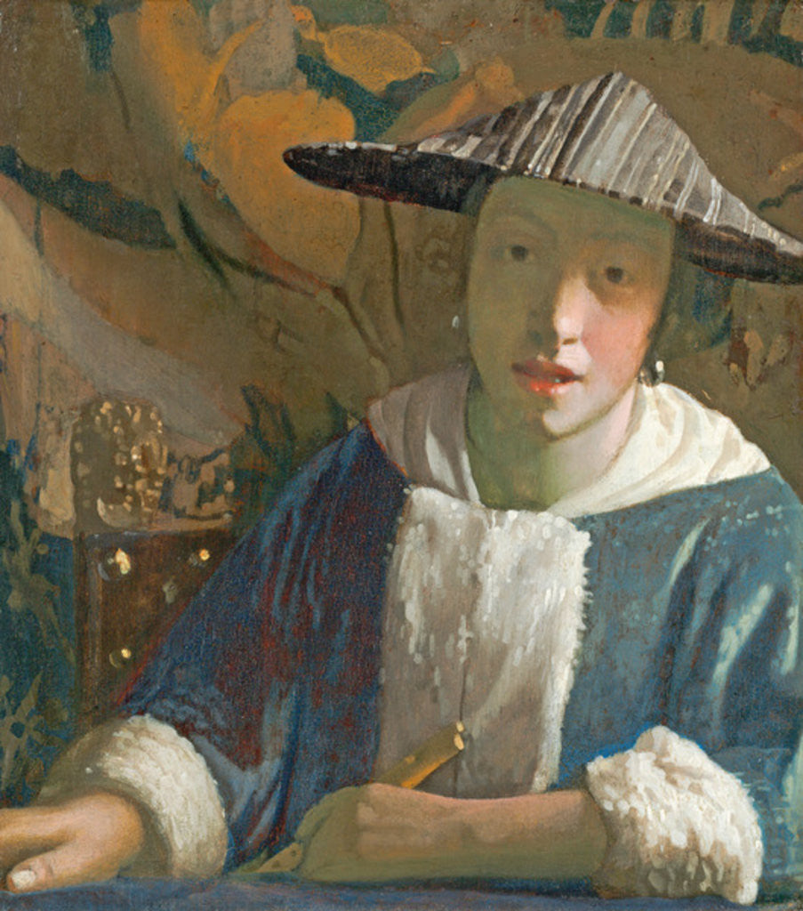 Detail of Young Girl with a Flute by Jan Vermeer