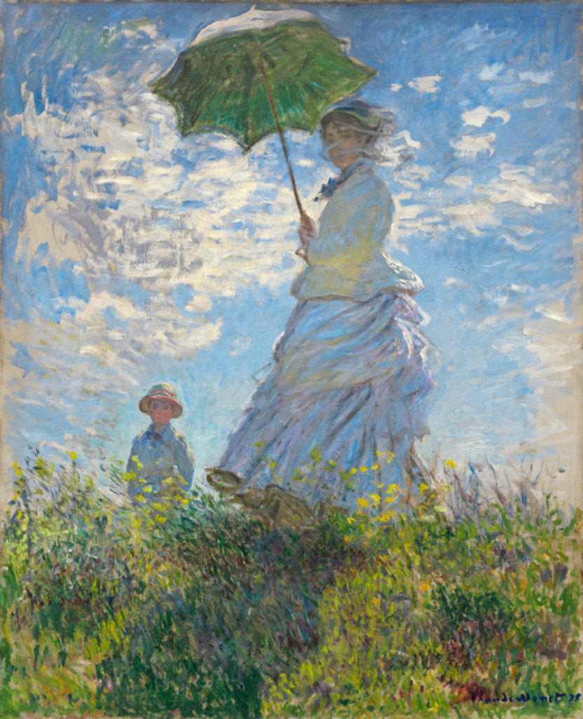 Detail of Woman with a Parasol - Madame Monet and Her Son by Claude Monet
