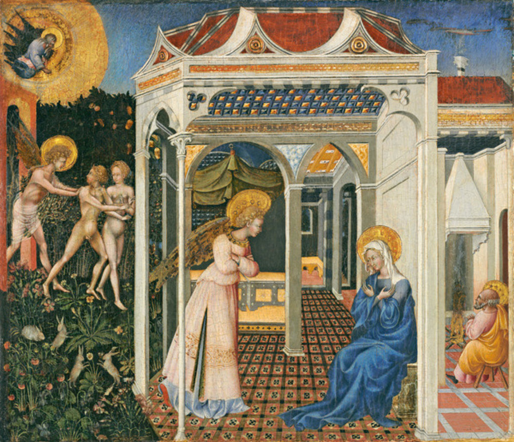 Detail of The Annunciation and Expulsion from Paradise by Giovanni di Paolo di Grazia