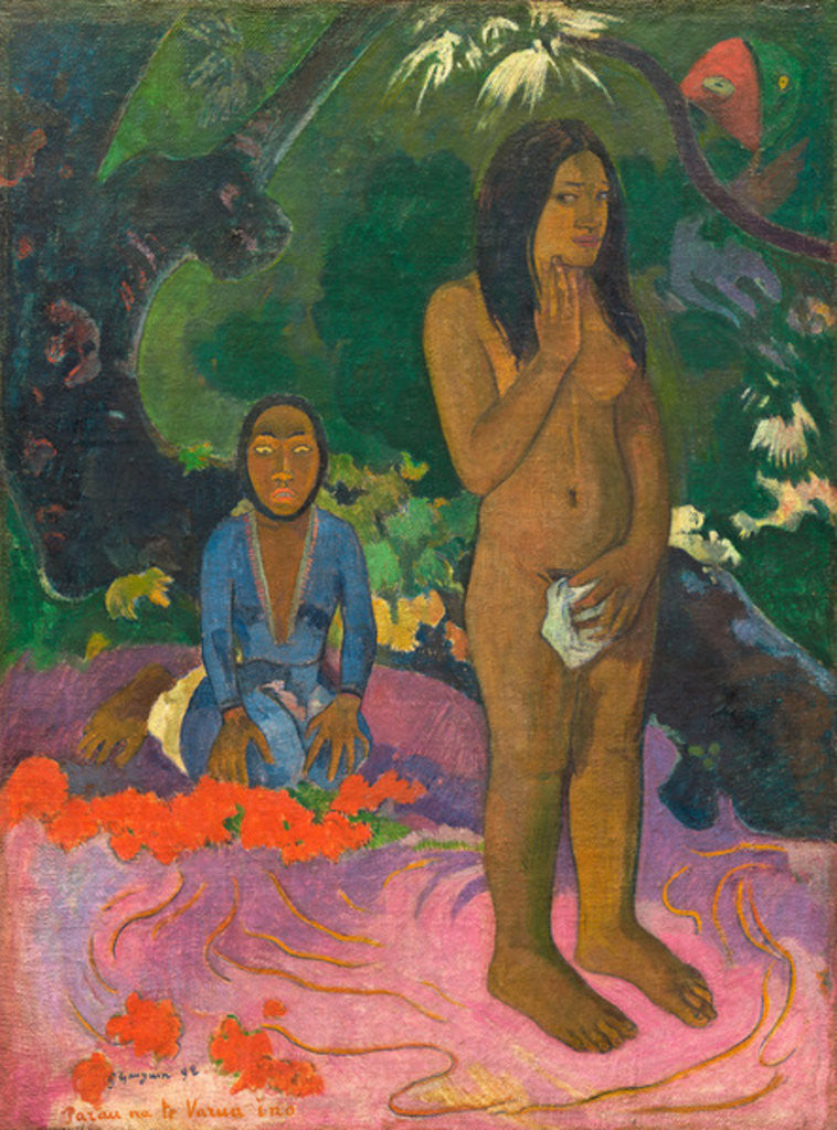 Detail of Parau na te Varua ino (Words of the Devil) by Paul Gauguin