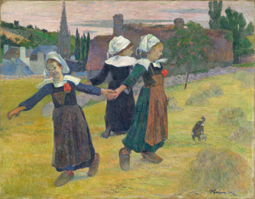 Detail of Breton Girls Dancing, Pont-Aven by Paul Gauguin