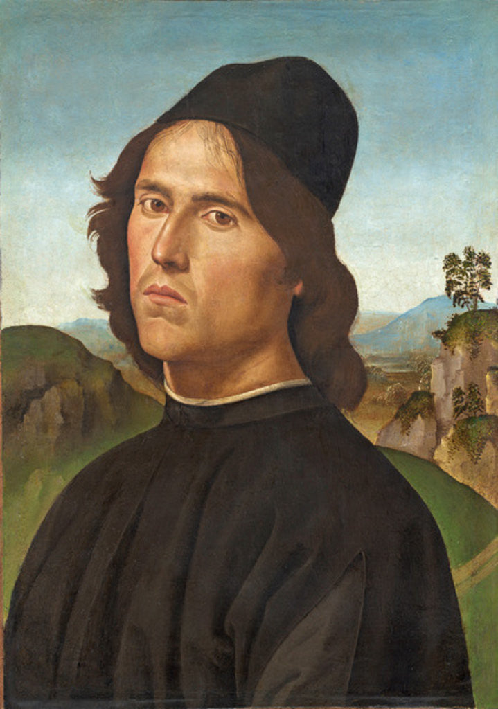 Detail of Portrait of Lorenzo di Credi by Pietro Perugino