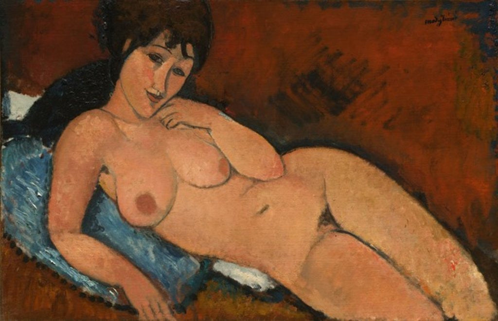 Detail of Nude on a Blue Cushion by Amedeo Modigliani