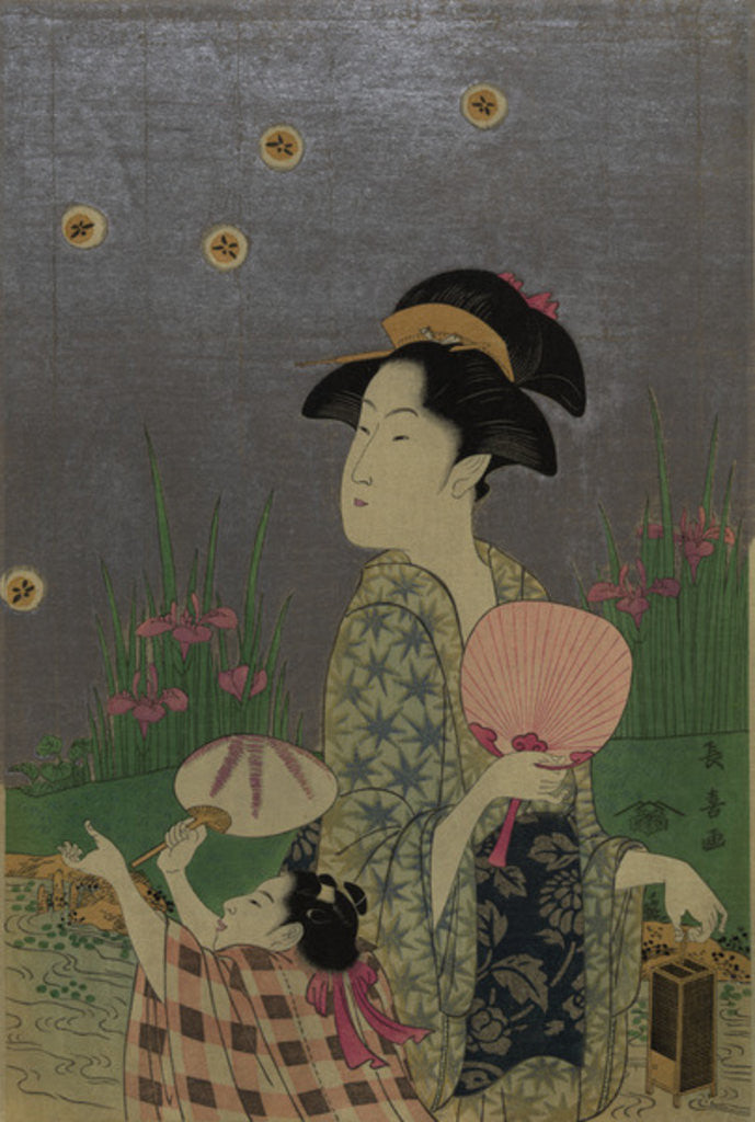 Detail of Fireflies by Choki Eishusai