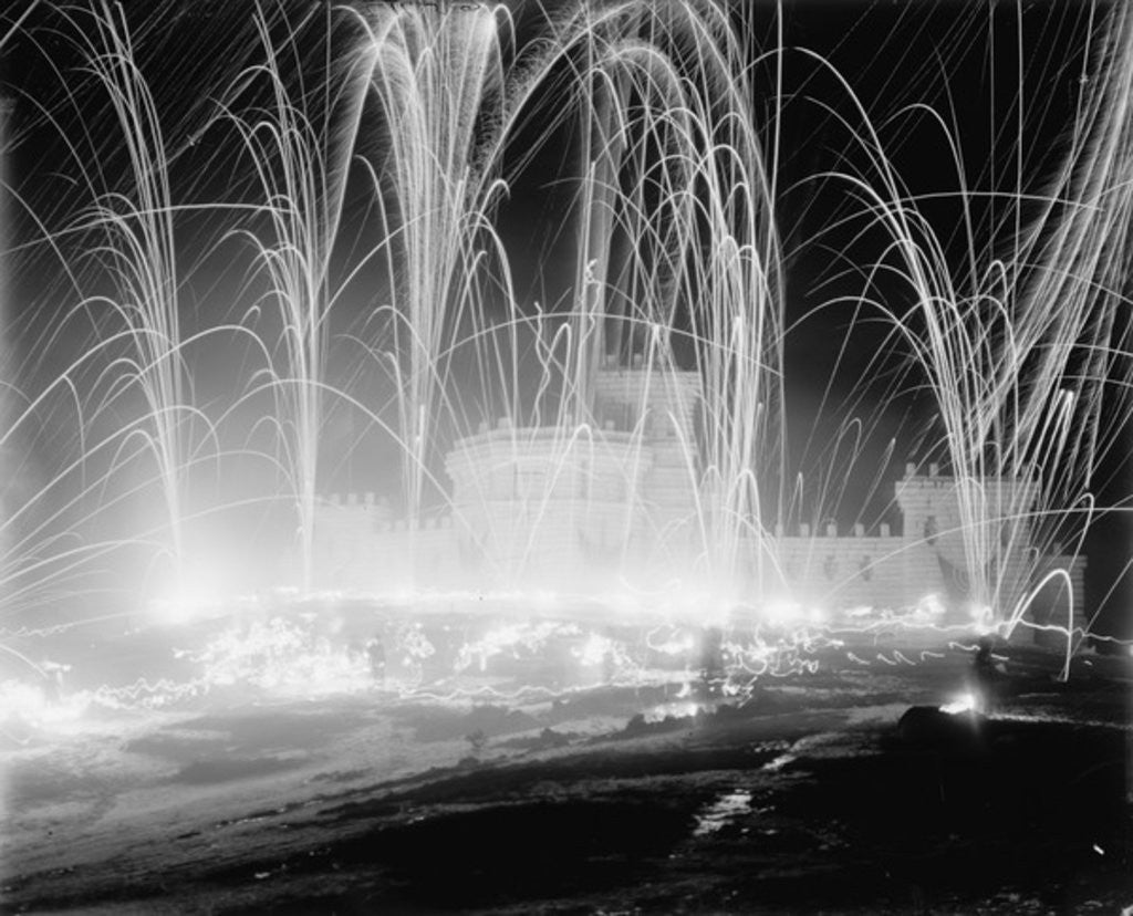Detail of Midwinter carnival, storming the fortress, Upper Saranac Lake, N.Y. by Detroit Publishing Co.