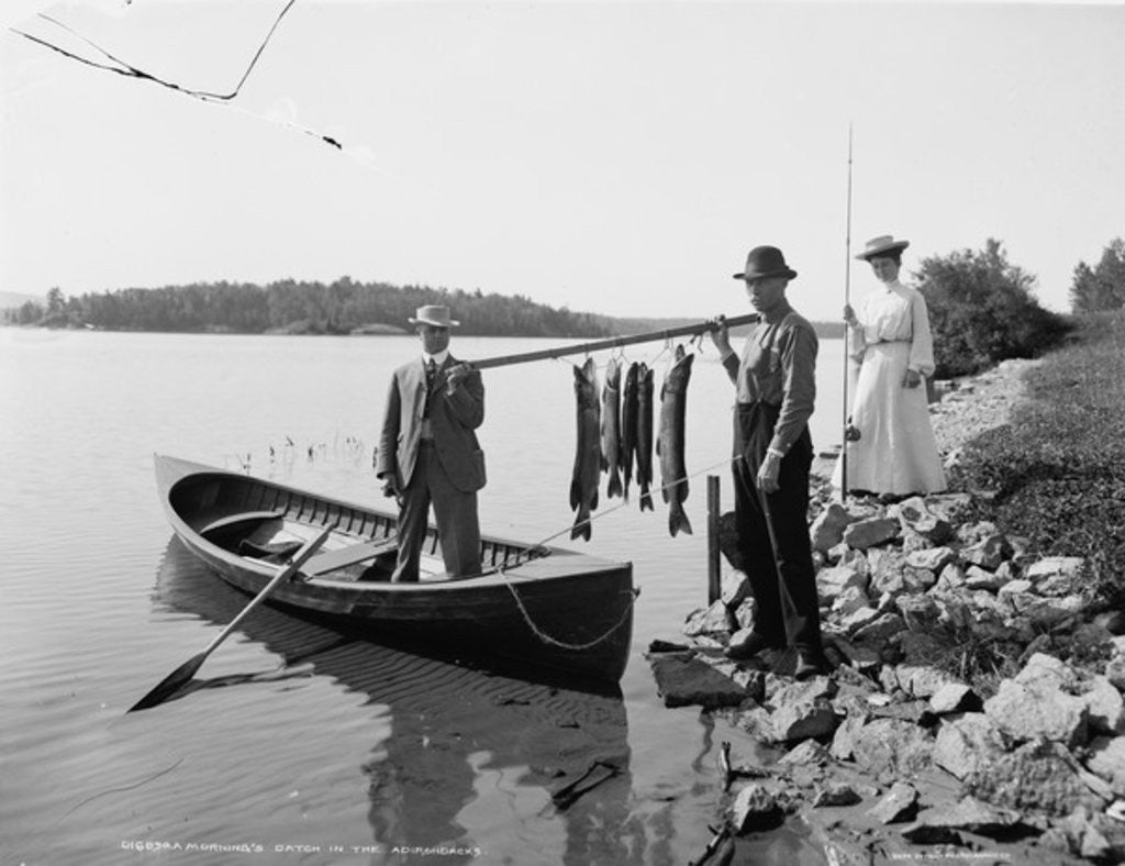 Detail of A Morning's catch in the Adirondacks by Detroit Publishing Co.
