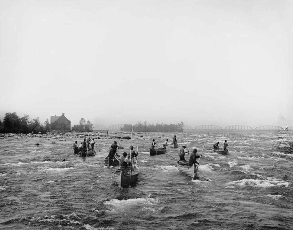 Detail of Indians fishing in the rapids, Sault Ste. Marie, Michigan by Detroit Publishing Co.