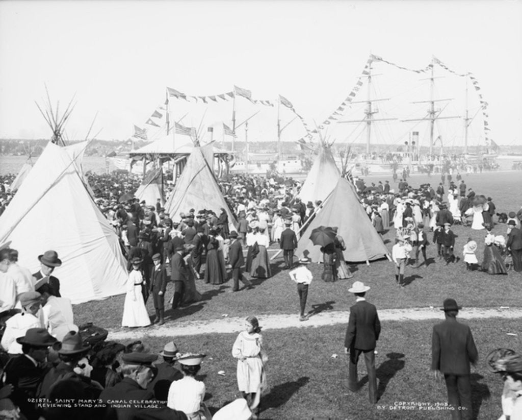 Detail of Saint Mary's Canal celebration, reviewing stand and Indian village by Detroit Publishing Co.