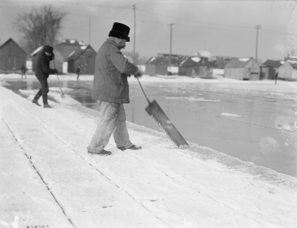 Detail of Ice harvesting, sawing by Detroit Publishing Co.