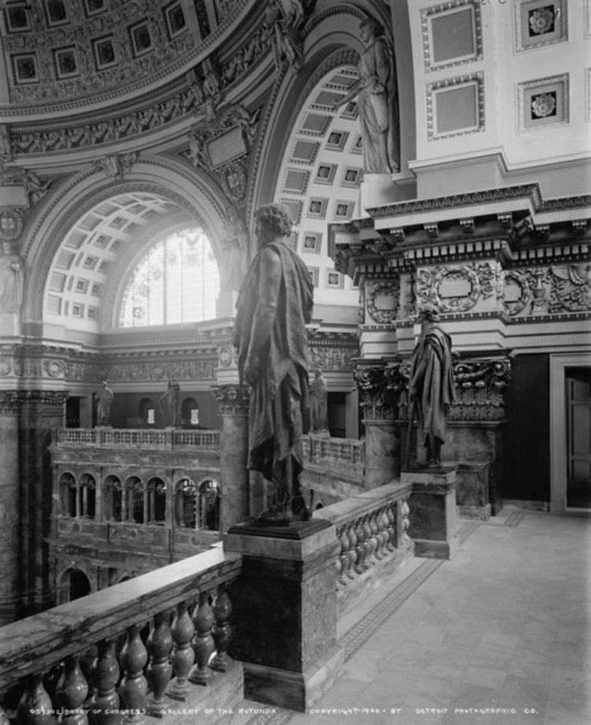 Detail of Library of Congress, gallery of the Rotunda by Detroit Publishing Co.