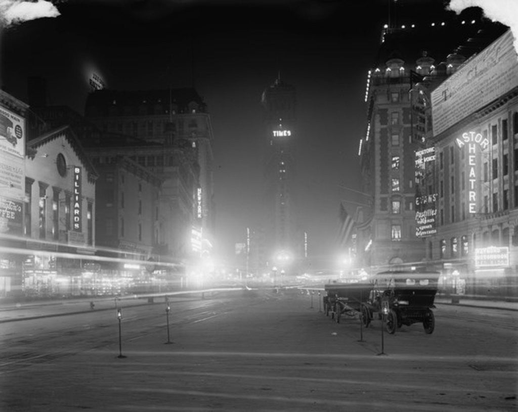 Detail of Times Square at night, New York, N.Y by Detroit Publishing Co.
