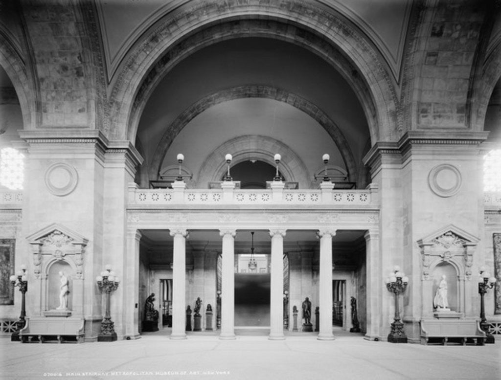 Detail of Main stairway, Metropolitan Museum of Art, New York by Detroit Publishing Co.