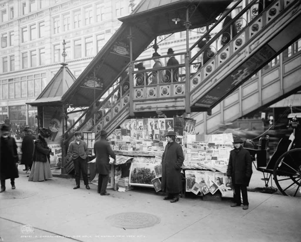 Detail of A characteristic sidewalk newsstand, New York City by Detroit Publishing Co.