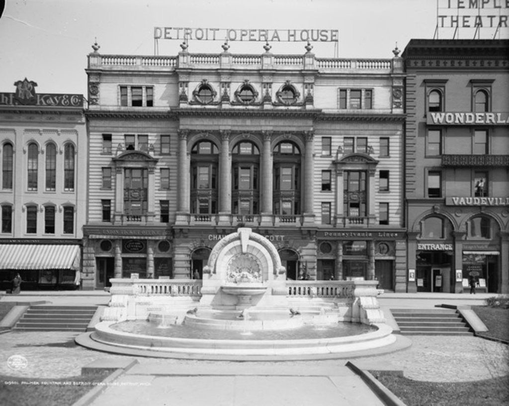Detail of Palmer Foundation and Detroit Opera House, Detroit, Michigan by Detroit Publishing Co.