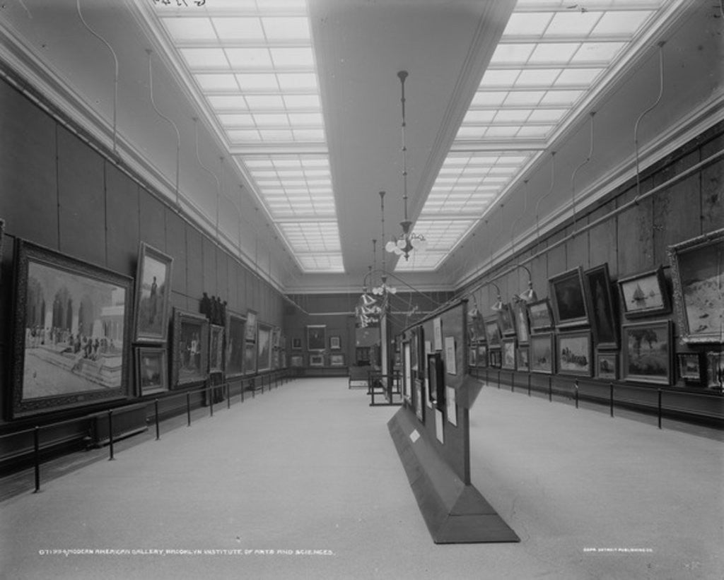 Detail of Modern American gallery, Brooklyn Institute of Arts and Sciences by Detroit Publishing Co.