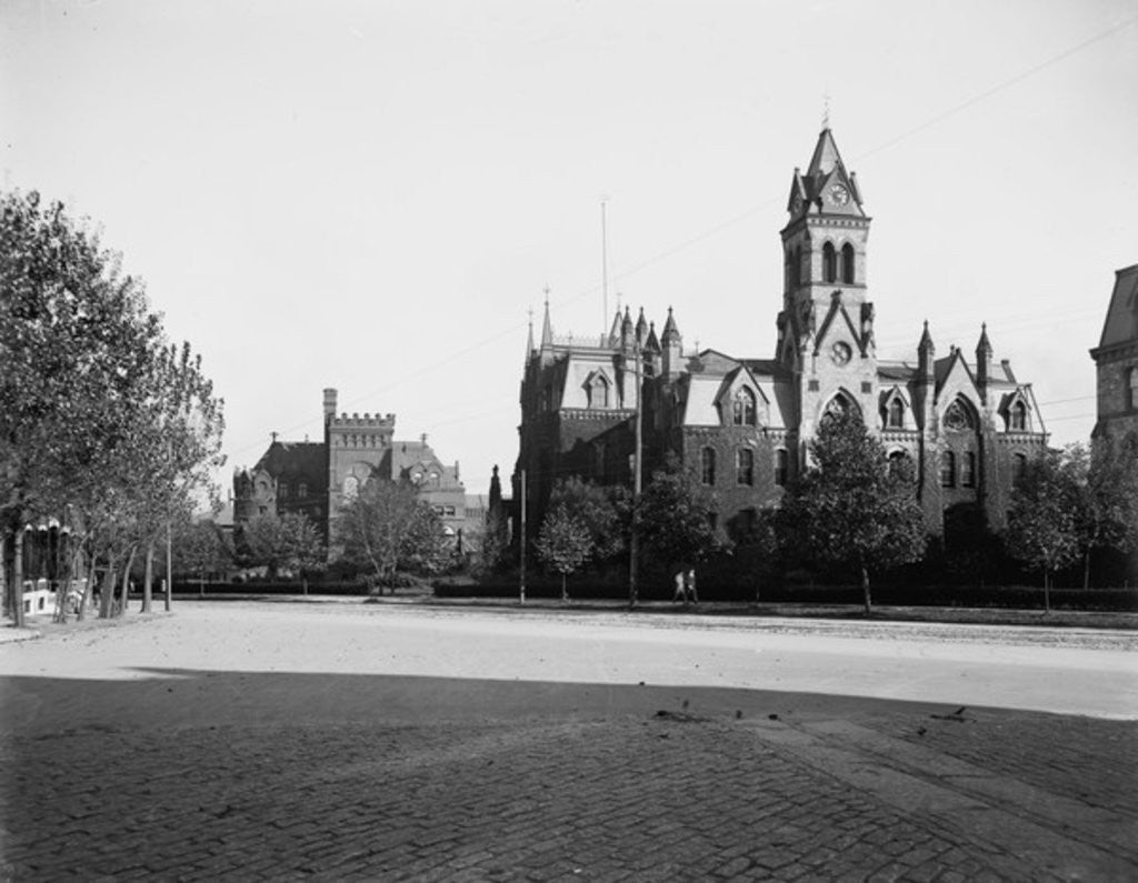 Detail of University of Pennsylvania, Main Building and Library, Philadelphia, Pennsylvania by Detroit Publishing Co.