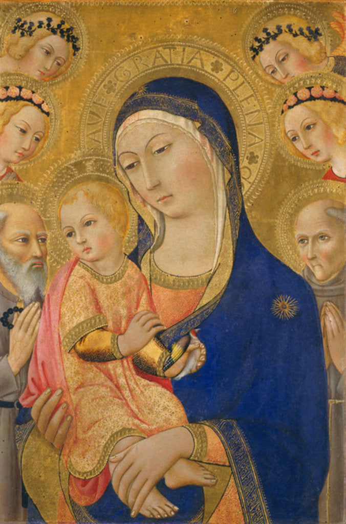 Detail of Madonna and Child with Saint Jerome, Saint Bernardino, and Angels by Sano di