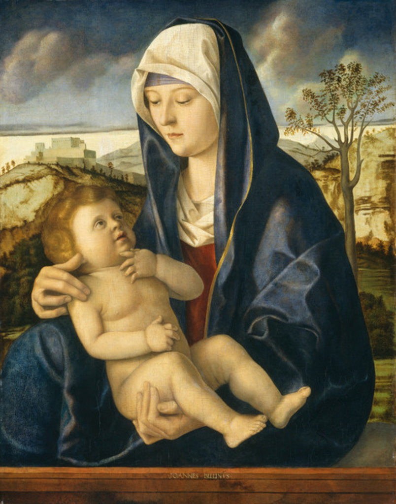 Detail of Madonna and Child in a Landscape by Giovanni Bellini