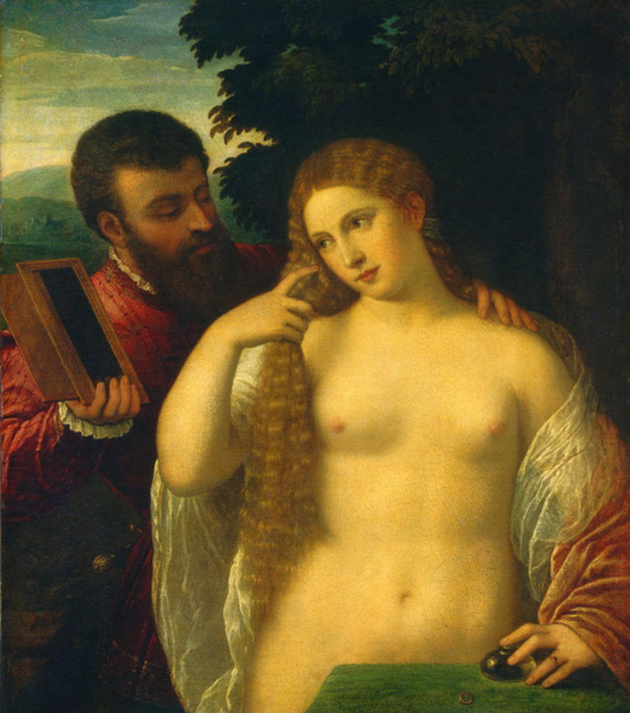 Detail of Allegory, Possibly Alfonso d'Este and Laura Dianti by Tiziano Vecelli Titian