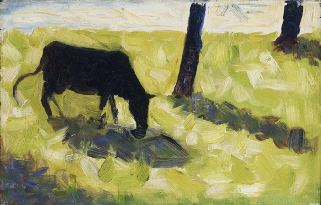 Detail of Black Cow in a Meadow by Georges Pierre Seurat