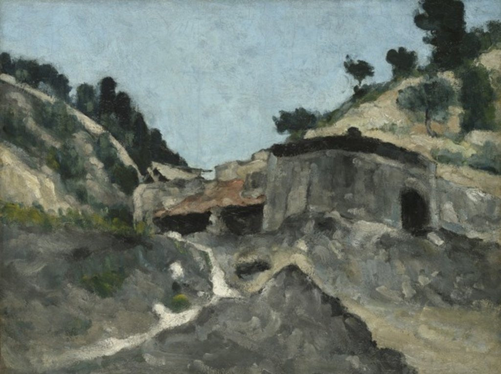 Detail of Landscape with Water Mill by Paul Cezanne
