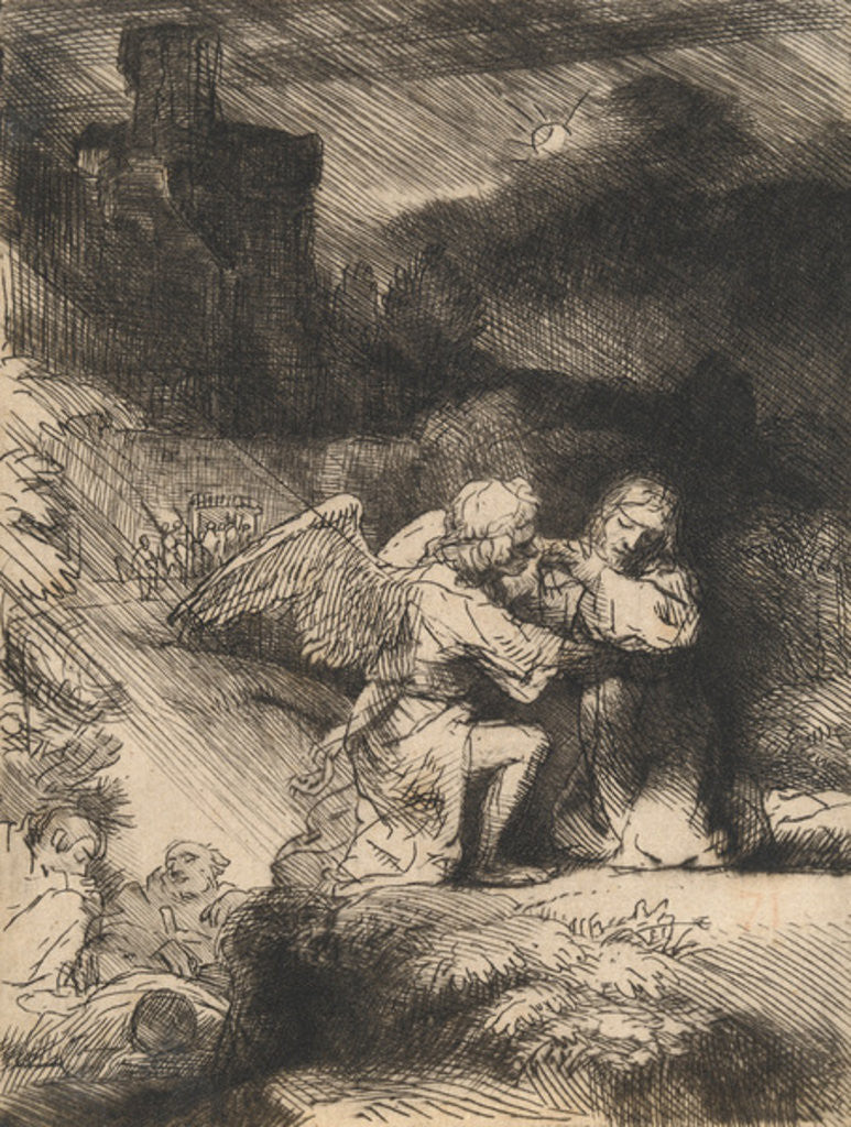 Detail of The Agony in the garden by Rembrandt Harmensz. van Rijn