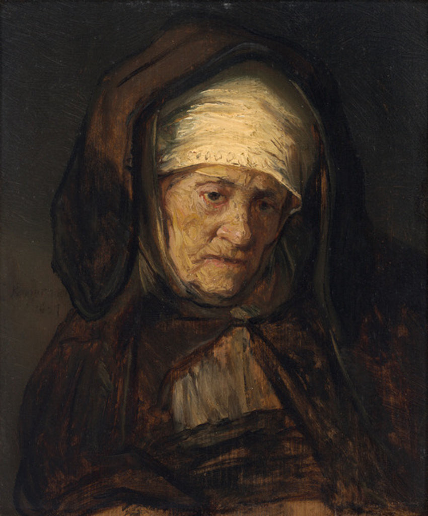 Head of an Aged Woman by Rembrandt Harmensz. van Rijn