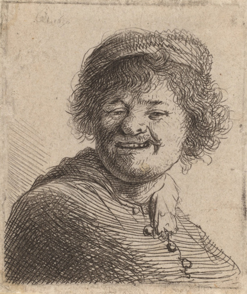 Detail of Self portrait in a Cap Laughing by Rembrandt Harmensz. van Rijn