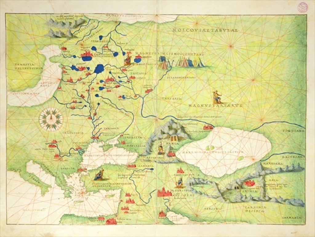 Detail of Europe and Central Asia by Battista Agnese