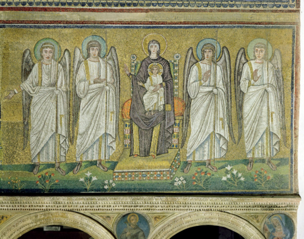 Detail of Madonna and Child enthroned and flanked by angels by Byzantine School