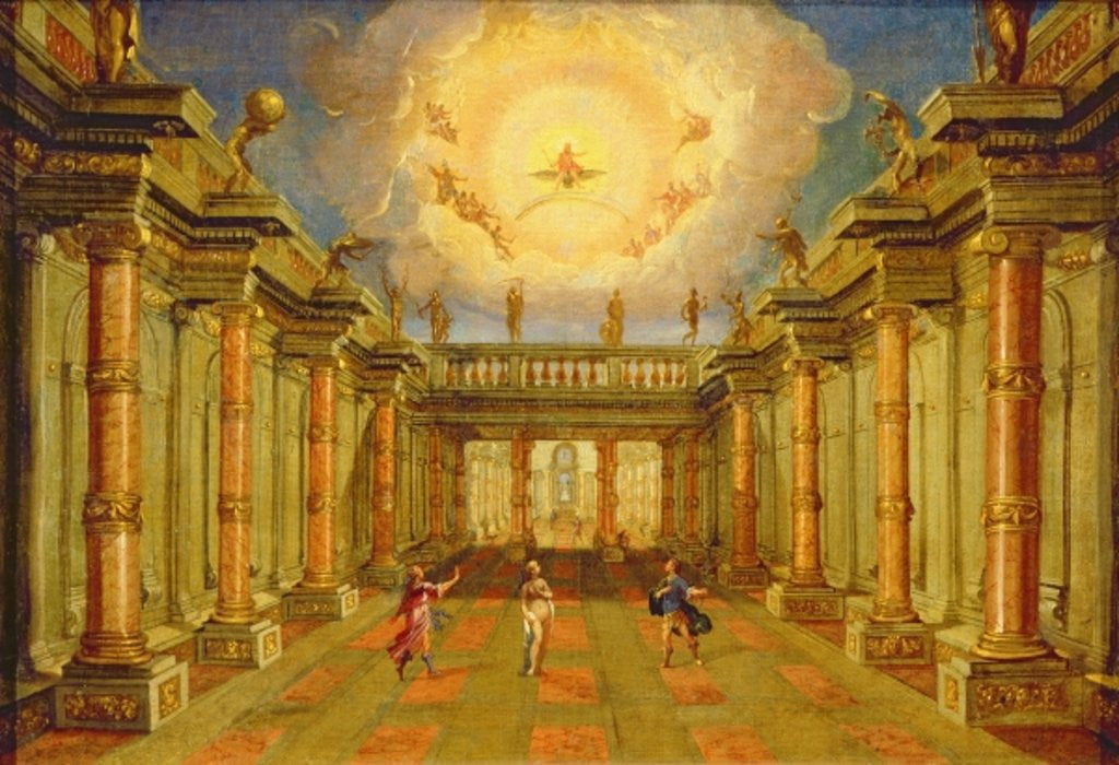 Detail of Act II, scene X: the courtyard of the King of Naxos by Giacomo Torelli