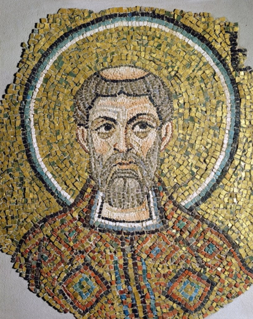 Detail of St. Ursicinus: Fragment of a mosaic from the Basilica Ursiana, the former cathedral of Ravenna by Italian School