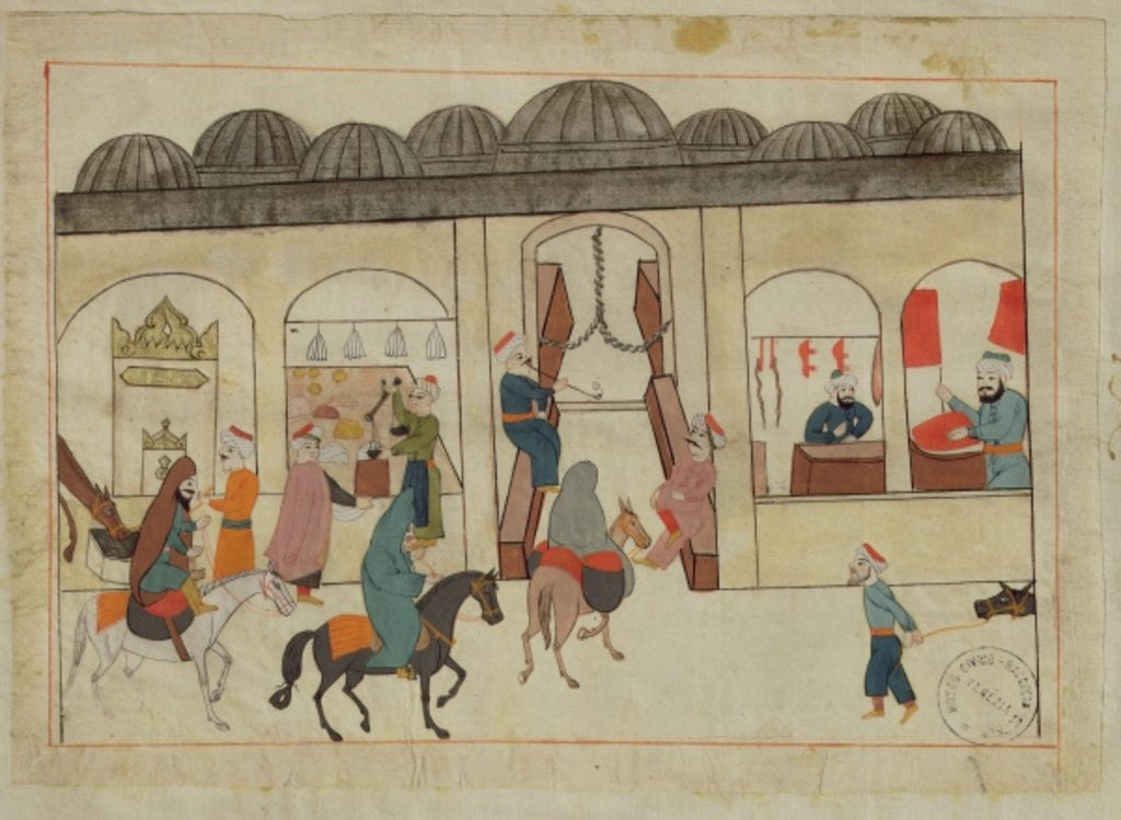 Detail of Ms. cicogna 1971, miniature from the 'Memorie Turchesche' depicting the covered market in Istanbul by Venetian School