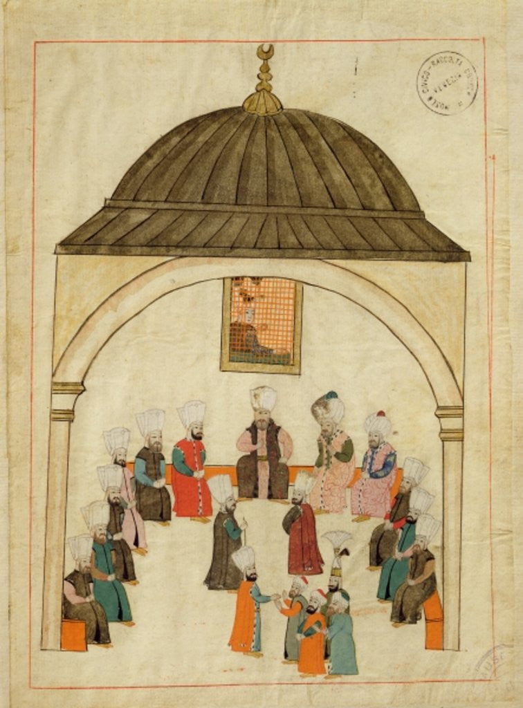 Detail of Miniature from the 'Memorie Turchesche' depicting the Imperial Hall in the Topkapi Palace, Constantinople by Islamic School