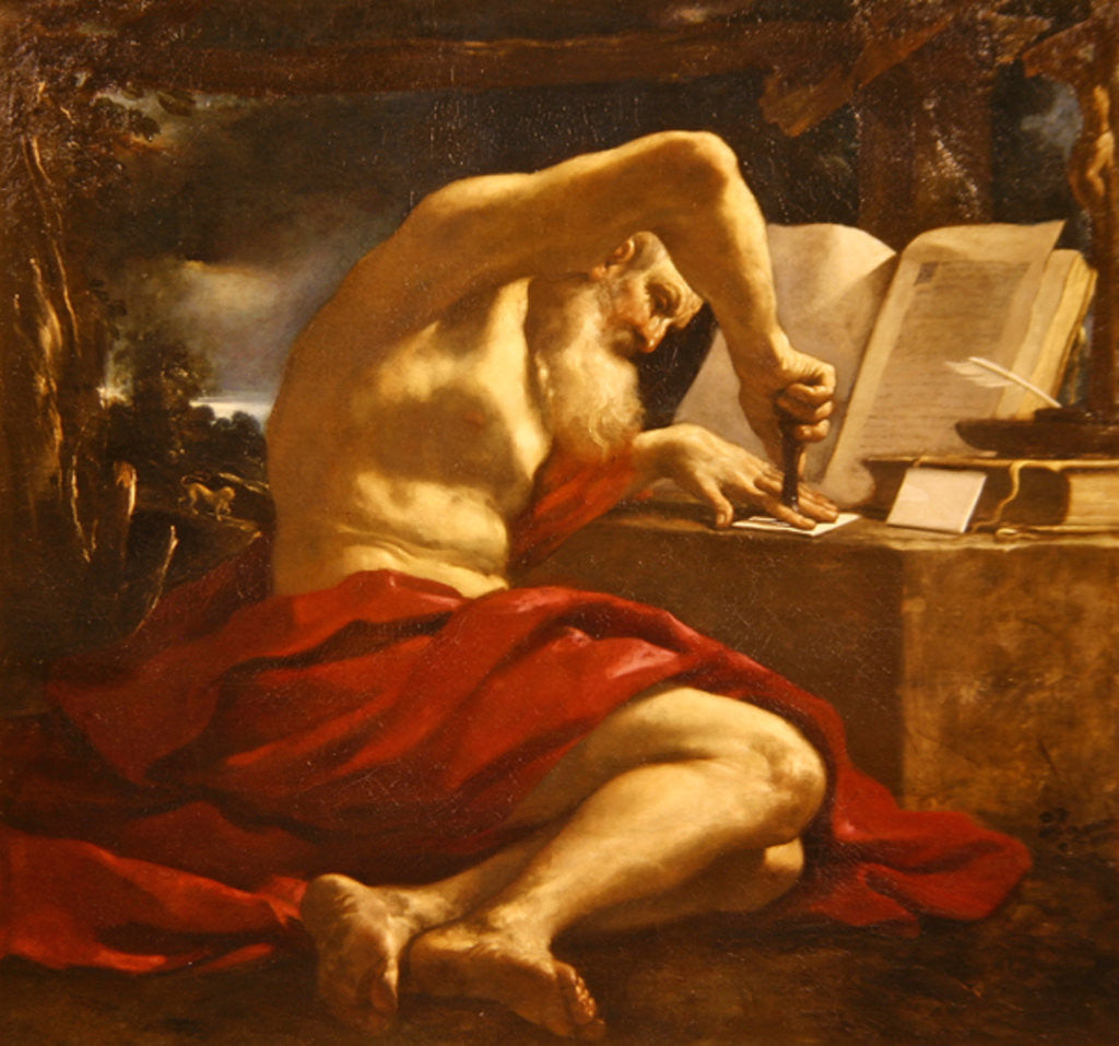 Detail of St. Jerome sealing a letter by Guercino