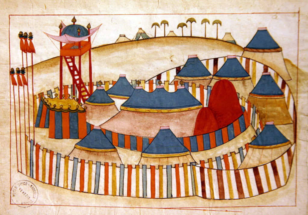 Detail of Ms. cicogna 1971, miniature from the 'Memorie Turchesche' depicting a Turkish camp with look-out tower by Venetian School
