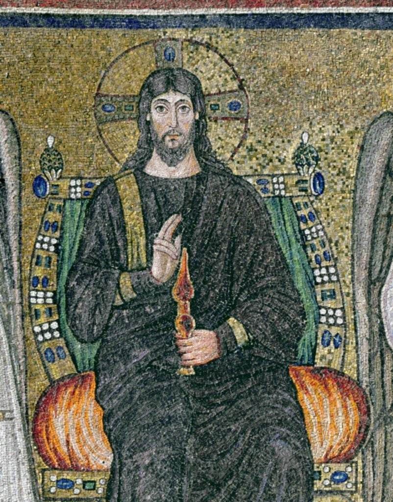 Detail of Christ enthroned with the angels by Byzantine School