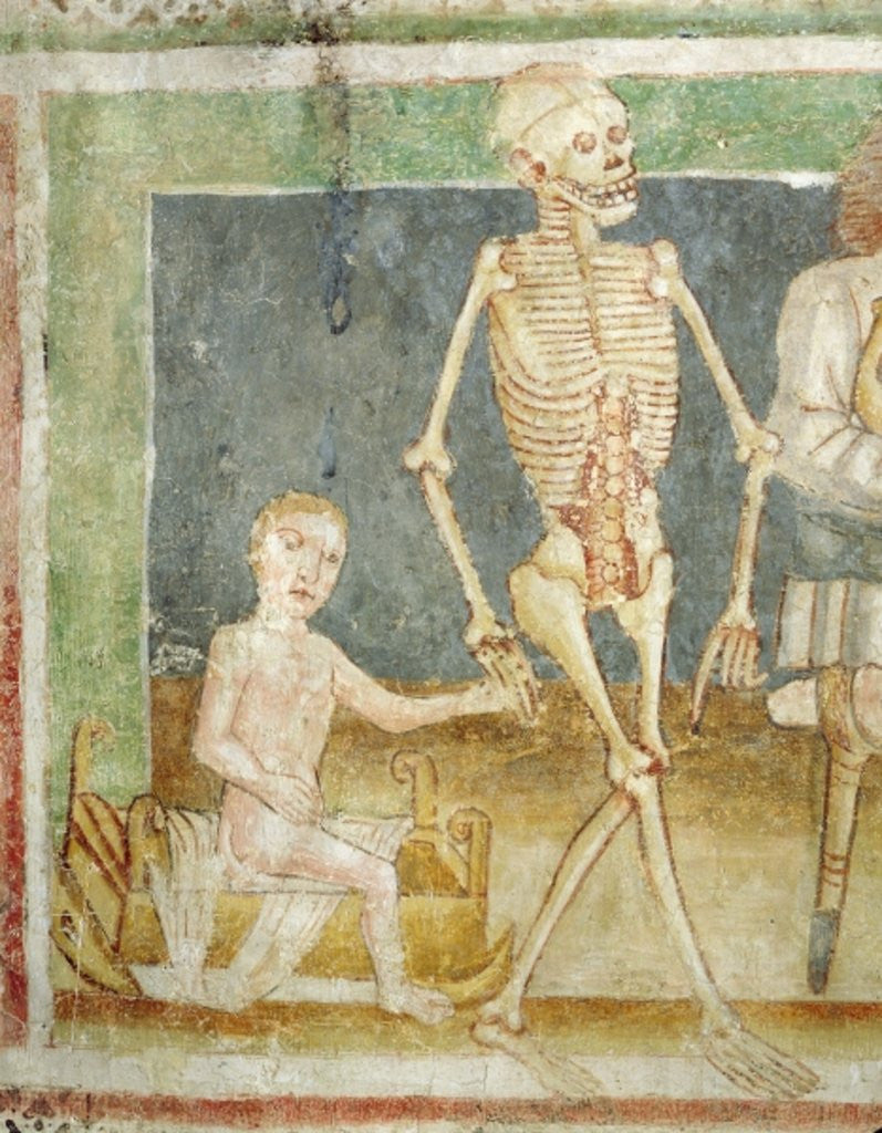 Detail of The Dance of Death: Death and the child by Janez Kastav