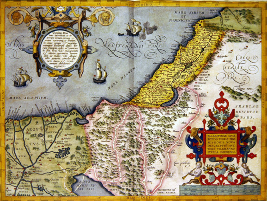 Detail of Palestine and the Promised Land by Abraham Ortelius